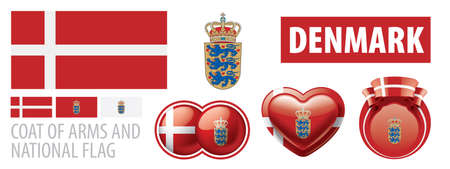 Vector set of the coat of arms and national flag of Denmark