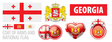 Vector set of the coat of arms and national flag of Georgia