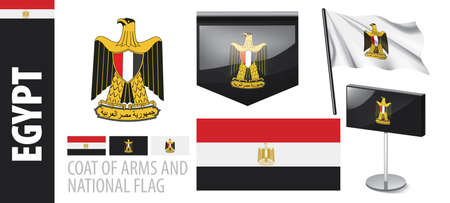 Vector set of the coat of arms and national flag of Egypt