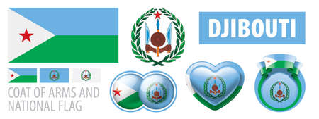 Vector set of the coat of arms and national flag of Djibouti Illustration
