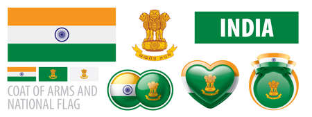 Vector set of the coat of arms and national flag of India Illustration