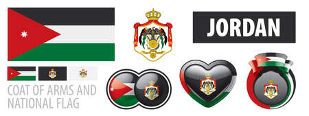 Vector set of the coat of arms and national flag of Jordan