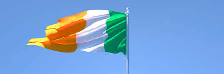3D rendering of the national flag of Ireland waving in the wind Stock Photo