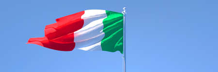 3D rendering of the national flag of Italy waving in the wind Stock Photo