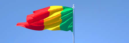 3D rendering of the national flag of Mali waving in the wind Stock Photo