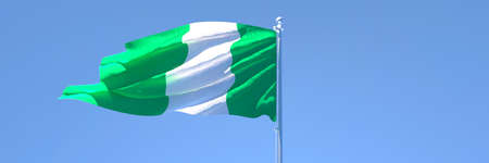 3D rendering of the national flag of Nigeria waving in the wind