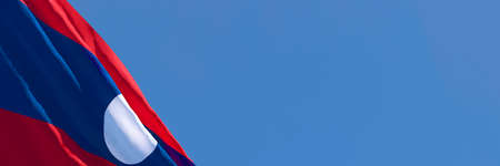 3D rendering of the national flag of Laos waving in the wind