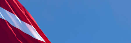 3D rendering of the national flag of Latvia waving in the wind