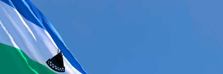 3D rendering of the national flag of Lesotho waving in the wind Stock Photo
