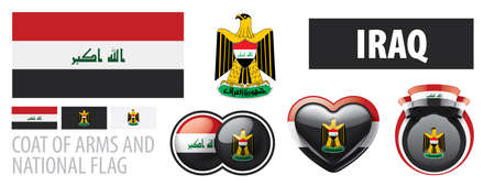 Vector set of the coat of arms and national flag of Iraq