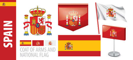 Vector set of the coat of arms and national flag of Spain