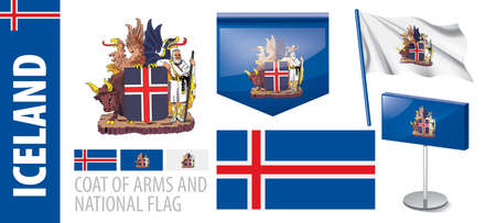 Vector set of the coat of arms and national flag of Iceland Illustration