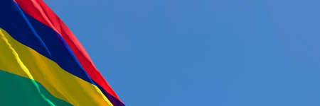 3D rendering of the national flag of Mauritius waving in the wind Stock Photo