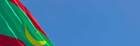 3D rendering of the national flag of Mauritania waving in the wind Stock Photo