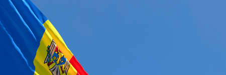 3D rendering of the national flag of Moldavia waving in the wind Stock Photo