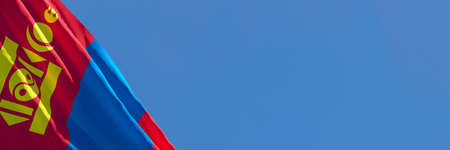 3D rendering of the national flag of Mongolia waving in the wind