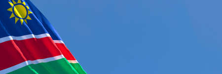 3D rendering of the national flag of Namibia waving in the wind