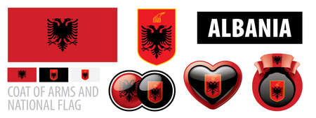 Vector set of the coat of arms and national flag of Albania
