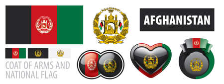 Vector set of the coat of arms and national flag of Afghanistan