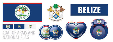 Vector set of the coat of arms and national flag of Belize