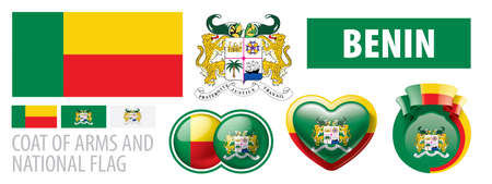 Vector set of the national flag of Benin in various creative designs
