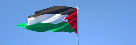 3D rendering of the national flag of Palestine waving in the wind