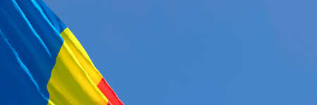3D rendering of the national flag of Romania waving in the wind