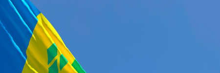 3D rendering of the national flag of Saint Vincent and the Grenadines