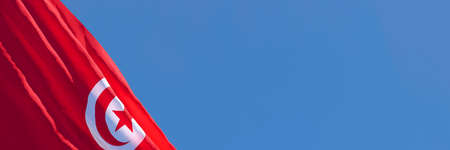 3D rendering of the national flag of Tunisia waving in the wind