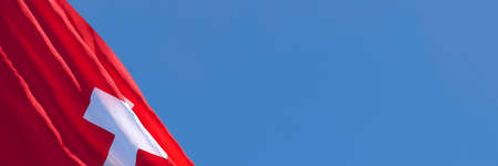 3D rendering of the national flag of Switzerland waving in the wind