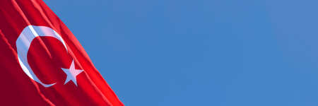 3D rendering of the national flag of Turkey waving in the wind
