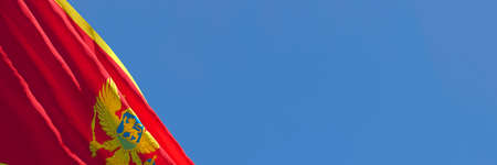 3D rendering of the national flag of Montenegro waving in the wind