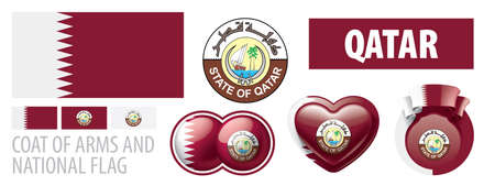 Vector set of the coat of arms and national flag of Qatar