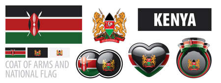 Vector set of the coat of arms and national flag of Kenya
