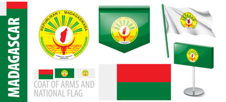 Vector set of the coat of arms and national flag of Madagascar