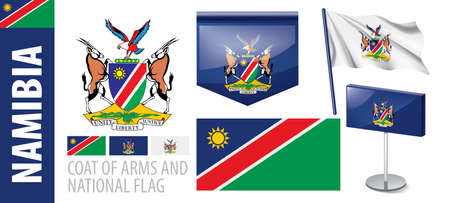 Vector set of the coat of arms and national flag of Namibia