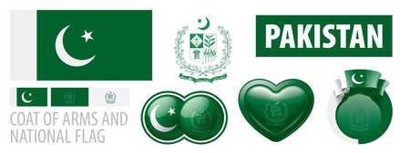 Vector set of the coat of arms and national flag of Pakistan Banco de Imagens - 155867313