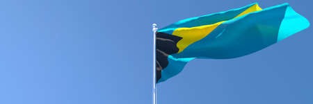3D rendering of the national flag of Bahama islands waving in the wind