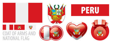 Vector set of the coat of arms and national flag of Peru