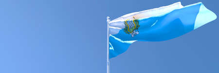 3D rendering of the national flag of San Marino waving in the wind