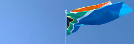 3D rendering of the national flag of South Africa waving in the wind Stock Photo