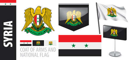 Vector set of the coat of arms and national flag of Syria
