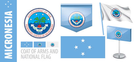 Vector set of the coat of arms and national flag of Micronesia