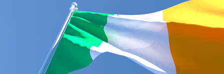 3D rendering of the national flag of Ireland waving in the wind Reklamní fotografie