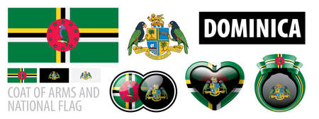 Vector set of the coat of arms and national flag of Dominica Çizim