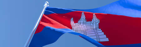 3D rendering of the national flag of Cambodia waving in the wind