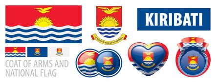 Vector set of the coat of arms and national flag of Kiribati