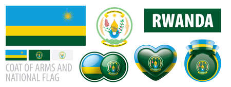 Vector set of the coat of arms and national flag of Rwanda
