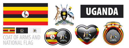 Vector set of the coat of arms and national flag of Uganda