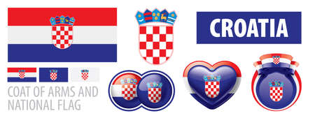 Vector set of the coat of arms and national flag of Croatia  イラスト・ベクター素材